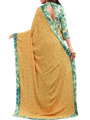 geometrical half and half saree with blouse - 15735030 - Standard Image - 2