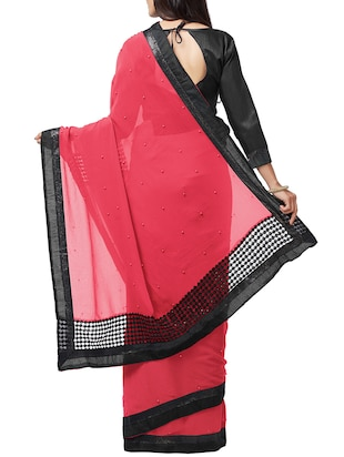 pearl embellished crimson saree with blouse - 15735291 - Standard Image - 2