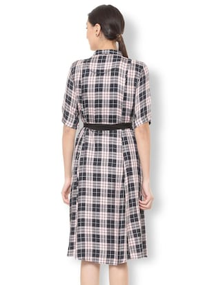 bow detail button up checkered dress - 15735388 - Standard Image - 2