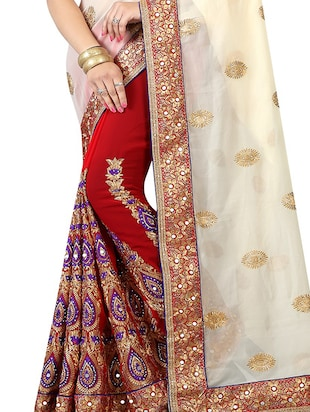 half & half embroidered saree with blouse - 15735739 - Standard Image - 2