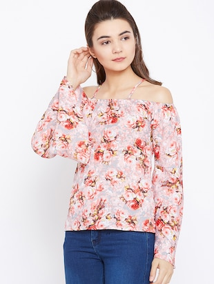 cold shoulder bell sleeved floral top - 15735847 - Standard Image - 2