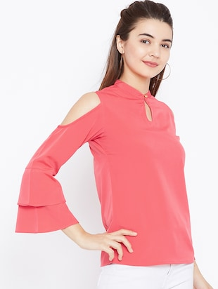 keyhole neck bell sleeved top - 15735856 - Standard Image - 2