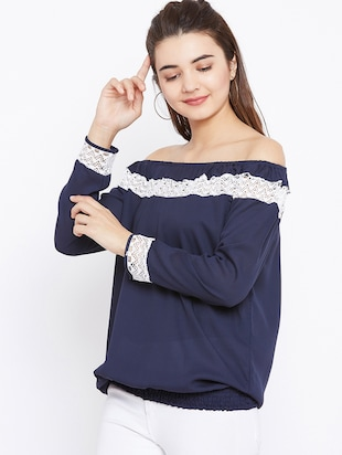 lace insert off shoulder top - 15735879 - Standard Image - 2