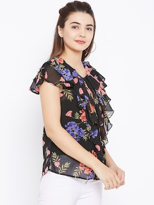 floral ruffled top - 15735885 - Standard Image - 2