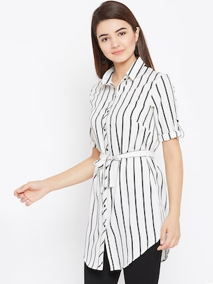tie up waist striped tunic - 15735898 - Standard Image - 2