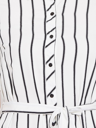 tie up waist striped tunic - 15735898 - Standard Image - 5