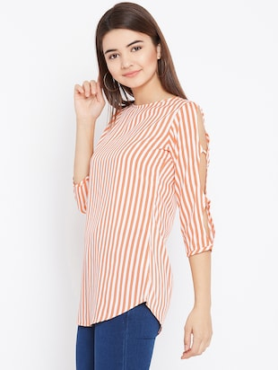 cut out sleeved striped tunic - 15735899 - Standard Image - 2