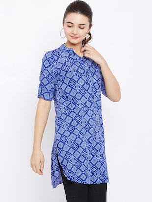 button detail roll up sleeved tunic - 15735913 - Standard Image - 2