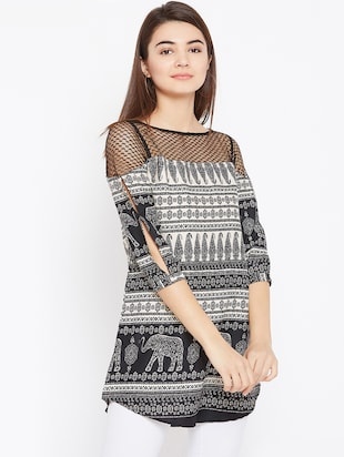 mesh paneled slit sleeved tunic - 15735916 - Standard Image - 2