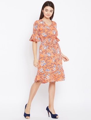 smocked waist bell sleeved dress - 15735932 - Standard Image - 2