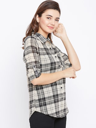 roll up sleeved checkered shirt - 15735935 - Standard Image - 2