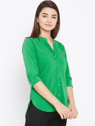 mandarin neck full sleeved shirt - 15735936 - Standard Image - 2