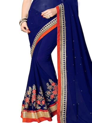 floral embroidered saree with blouse - 15735961 - Standard Image - 2