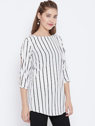 slit sleeved striped tunic - 15736679 - Standard Image - 2