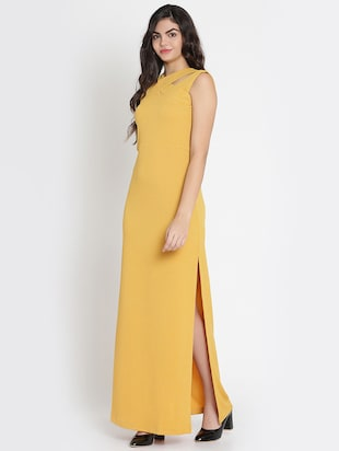 mustard x-neck high slit dress - 15736794 - Standard Image - 2