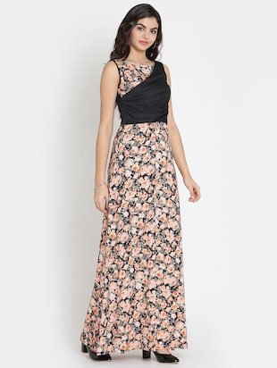 gathered detail floral maxi dress - 15736796 - Standard Image - 2