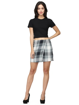 front overlap checkered skirt - 15736808 - Standard Image - 5