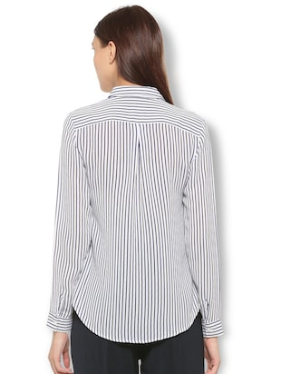 curved hem striped shirt - 15736820 - Standard Image - 2