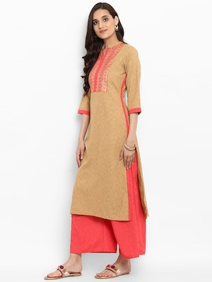 Patch work straight kurta - 15737044 - Standard Image - 2