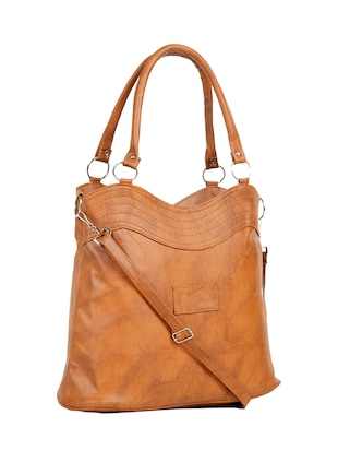 tan leatherette (pu) regular handbag - 15737070 - Standard Image - 5