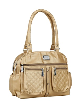 gold leatherette (pu) regular handbag - 15737083 - Standard Image - 5