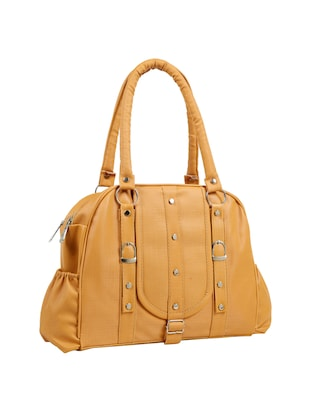 yellow leatherette (pu) regular handbag - 15737106 - Standard Image - 5