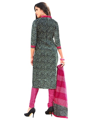 Printed unstitched churidaar suit - 15737508 - Standard Image - 2
