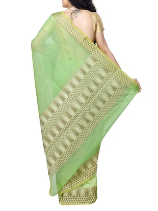 geometrical zari border banarasi saree with blouse - 15737549 - Standard Image - 2