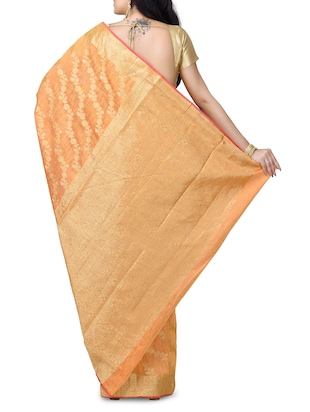 floral chanderi banarasi saree with blouse - 15737557 - Standard Image - 2