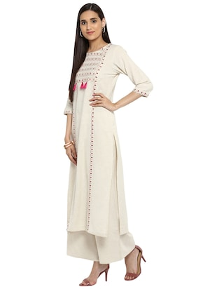 Block printed tassels kurta with palazzo set - 15737597 - Standard Image - 2