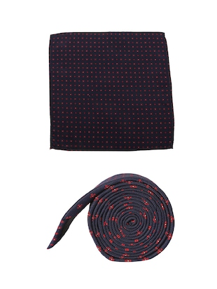 navy cotton tie with pocketsquare - 15737816 - Standard Image - 2