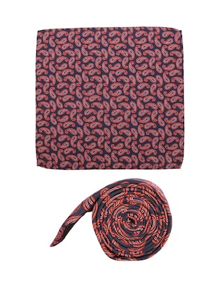red cotton tie with pocketsquare - 15737820 - Standard Image - 2