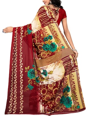 floral printed saree with blouse - 15737910 - Standard Image - 2