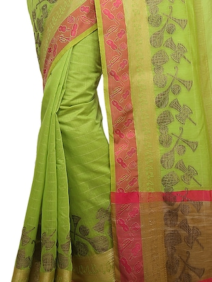 conversational zari border banarasi saree with blouse - 15737951 - Standard Image - 2