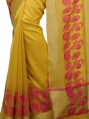 conversational zari border banarasi saree with blouse - 15737988 - Standard Image - 2