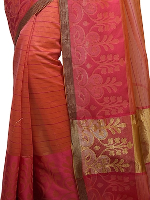 gold zari pallu banarasi saree with blouse - 15738030 - Standard Image - 2