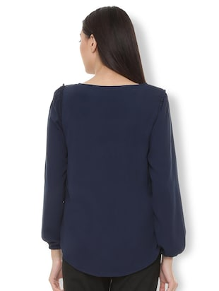 frill trim tie up neck top - 15738079 - Standard Image - 2