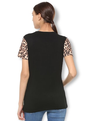 animal print lace trim top - 15738089 - Standard Image - 2