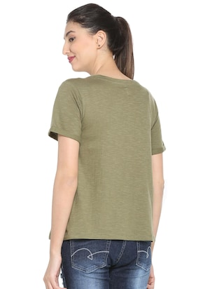 graphic print olive green tee - 15738152 - Standard Image - 2