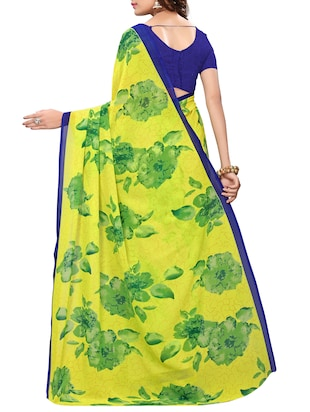 floral printed saree with blouse - 15738170 - Standard Image - 2