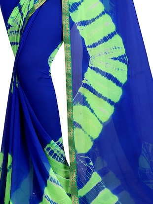 contrast shades shibori saree with blouse - 15738387 - Standard Image - 2