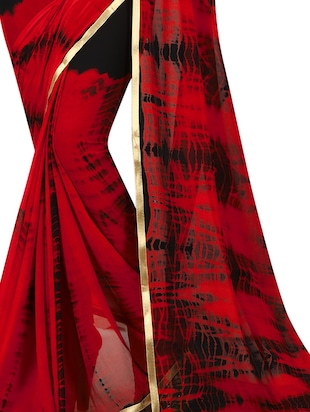 contrast shades shibori saree with blouse - 15738401 - Standard Image - 2