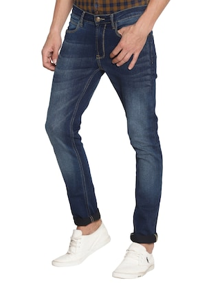 navy blue cotton washed jeans - 15738813 - Standard Image - 2