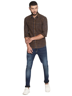 navy blue cotton washed jeans - 15738813 - Standard Image - 5