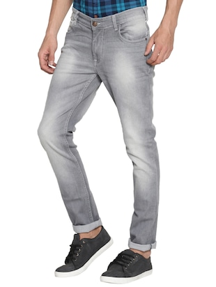 grey cotton washed jeans - 15738815 - Standard Image - 2