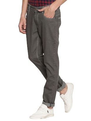 grey cotton plain jeans - 15738816 - Standard Image - 2