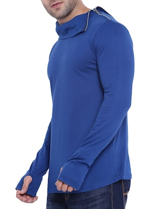 blue cotton thumb hole tshirt - 15739156 - Standard Image - 2