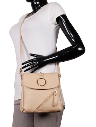 beige leatherette (pu) regular sling bag - 15746690 - Standard Image - 5