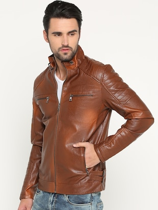 brown leather biker jacket - 15747192 - Standard Image - 2