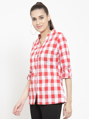 mandarin collar checkered shirt - 15747211 - Standard Image - 2